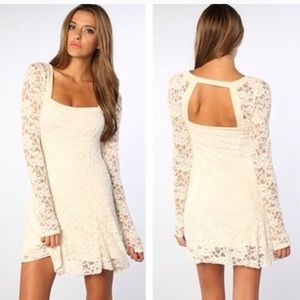 NWT Free People Flirt for You Alabaster Lace Dress